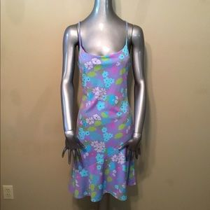 Vintage 90's XOXO purple/aqua floral dress EUC